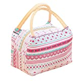 Printing Lunch Bags, Paymenow Waterproof Canvas Insulated Zip Stylish Portable Cooler Bag Lunch Box Package Food Storage Container for Work or School (A)