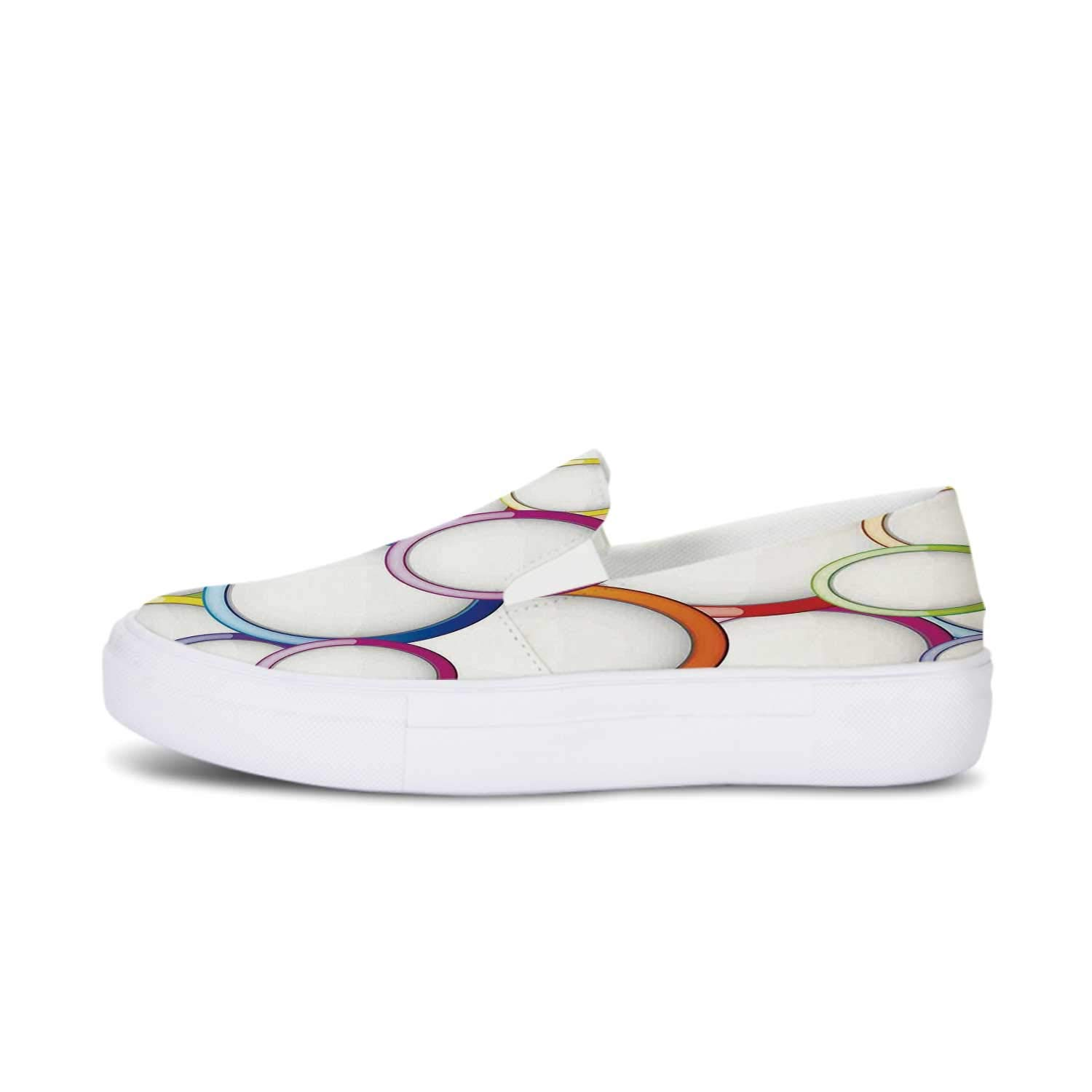 Ocean Decor Canvas Slip On Shoes,Tropical Sandy Beach at Summer Sunny Day Decorative for Women,US 5