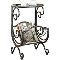 Coaster Metal and Glass Accent Table, with Storage