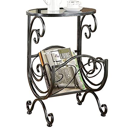 Beau Coaster Traditional Metal/Glass Side Table With Scroll Magazine Rack