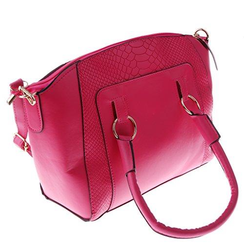 MagiDeal roja de Mediano Chicas Bolso Bolsos Moda Rosa Hombro Bolsa Mujer para de de Impermeable rI6wxprg
