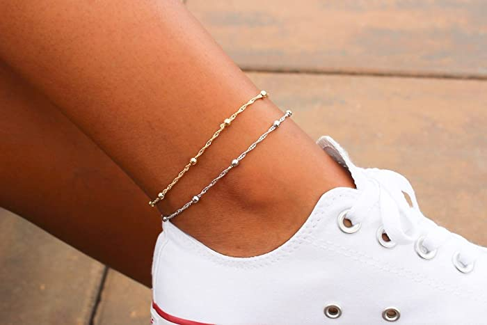 dainty anklet bracelet beaded silver rose rganklet or gold products