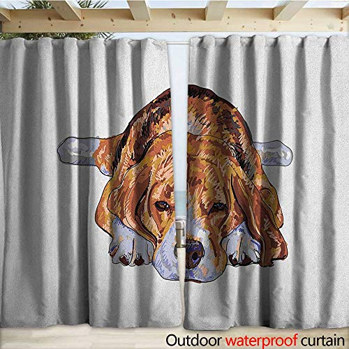 warmfamily Beagle Grommet Curtain Panel Old Dog Resting Sleeping Tired Puppy Short Haired Purebred Sketch Art W120 x L96 Brown Baby Blue White
