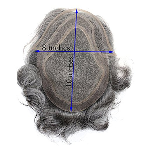 Dreambeauty Men's Toupee 10×8 inch Human Hair Thin Skin Hairpiece Hair Replacement System Monofilament Net Base for Men (20% #2 Mix 80% silver hair) by Dream Beauty (Image #7)