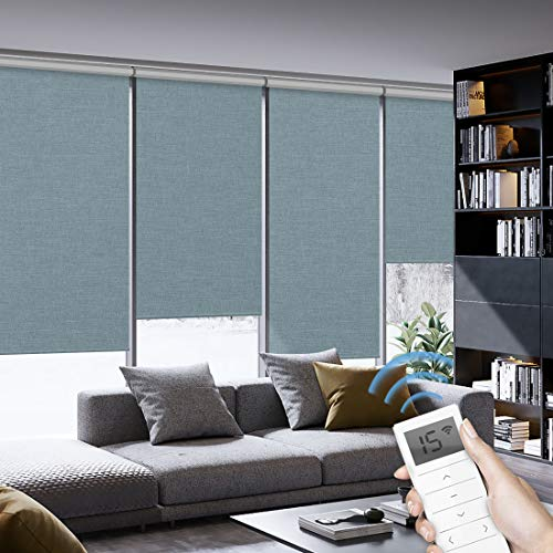 Graywind Motorized Roller Shades 100% Blackout Window Shades Cordless Thermal Insulated Window Roller Blinds with Valance and Triple Weaved Fabric for Smart Home and Office, Customized Size, Lake Blue