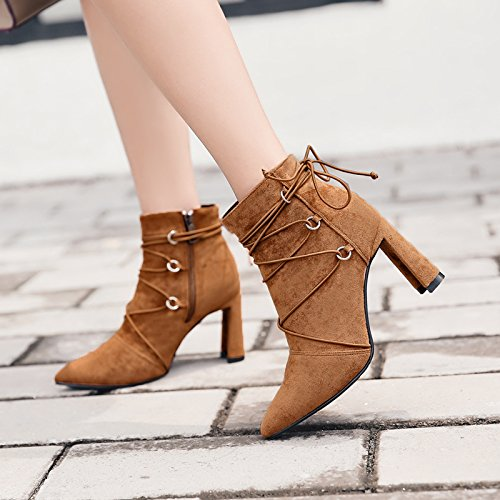 British Winter Band Heeled And KHSKX Boots Rough Autumn Boots Martin Boots Style Zipper With Side Single Camel Boots High Bare ORW1Eqw
