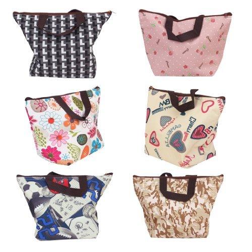 SROVFIDY bag lunch box sacchetto isolato borsa secchiello per pic-nic viaggio (colorito fiore)