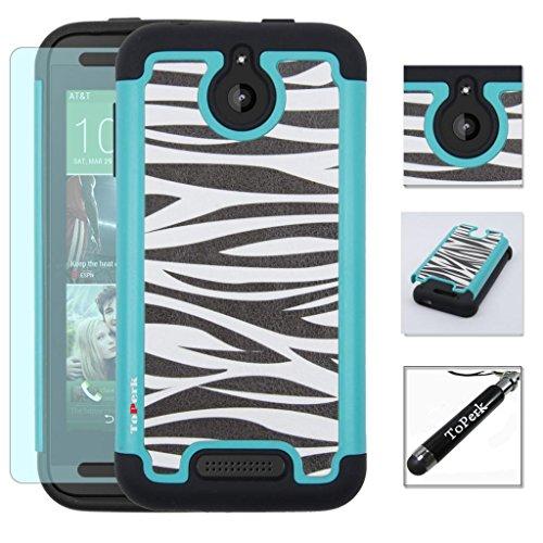 HTC Desire 510 Case, ToPerk Cyber Graphic Armor Case + Free HD Screen Protector & ToPerk TM Stylus Pen As Bundle Sale - Zebra Skin