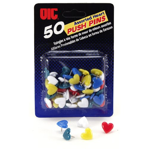 Officemate OIC 50 Pack Push Pins, Heart Shape, Assorted Colors (92805) ()