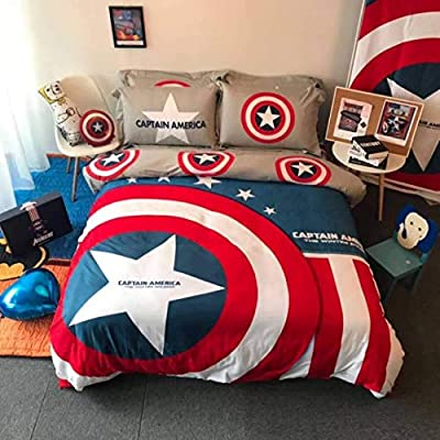 ZI TENG Captain America Cartoon Kids Girl Boys Favorite Captain America Beddding Set 100% Cotton Cartoon Teenagers Students Bed Set 4PC,1Duvet Cover,1Flat Sheet 2Pillow Case Queen Full Twin Size: Home & Kitchen