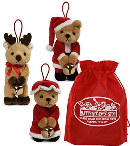 GUND Holiday (Christmas) Plush Jingle Ornaments Santa Bear, Mrs. Claus Bear & Reindeer Gift Set Bundle with Bonus Matty's Toy Stop Storage Bag - 3 Pack