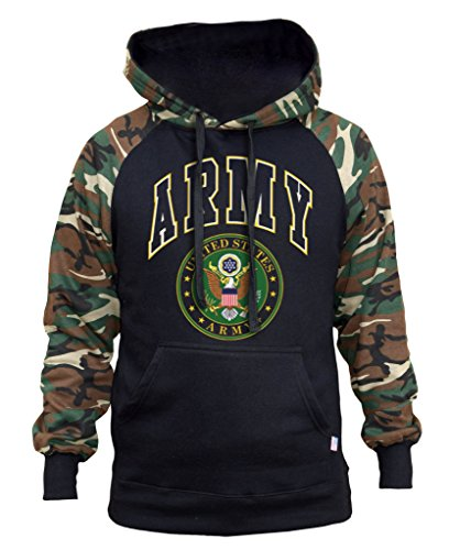 - Men's Huge US Army Logo Black/Camo Raglan Baseball Hoodie 3X-Large Black