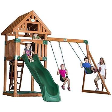 Backyard Discovery Trek All Cedar Wood Playset Swing Set