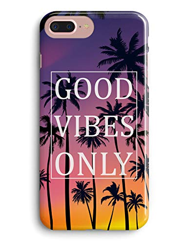 TRFAEE iPhone 7 Plus Case,iPhone 8 Plus Case,Tropical Palm Good Vibes Only Pattern Anti Scratch Shock Resistant Soft Rubber TPU Protection Case Cover for Apple iPhone 7 8 Plus