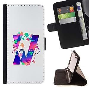 W Win Wonder White Initial - Modelo colorido cuero de la carpeta del tirón del caso cubierta piel Holster Funda protecció Para Samsung ALPHA G850