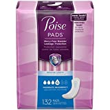 Poise Incontinence Pads, Moderate Absorbency, Blue, Regular 66 Count (Pack of 2)
