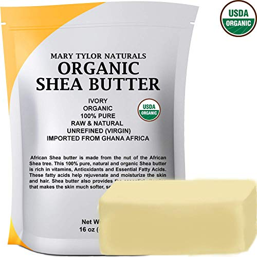- USDA Certified Organic Shea butter 1 lb Raw Unrefined Shea butter Ivory From Ghana Africa, Amazing Skin Nourishment, Great for Eczema, Stretch Marks and Body by Mary Tylor Naturals