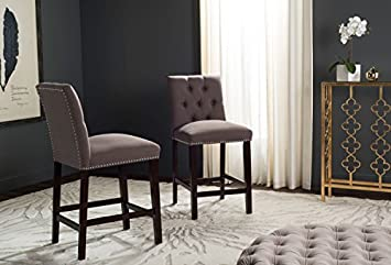 Safavieh Home Collection Norah Dark Taupe and Espresso Counter Stool Set of 2
