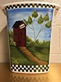Primitive Country Decor Hand Painted Outhouse Bathroom Trash Can Made in USA 2.5 Gallon