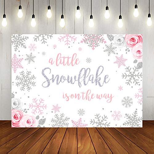 Wonderland Decorations - Winter Snowflake Baby Shower Backdrop Winter