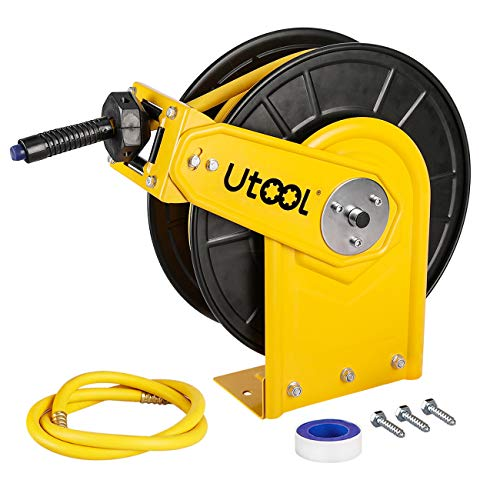 Air Hose Reel, Utool Auto Retractable Hose Reel with 3/8in.x50Ft. Hybrid Rubber Hose 3 Ft. Lead Hose 1 PTFE Tape Max. -