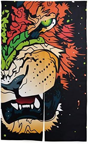 NIESIKKLA 間仕切りカーテン,抽象的なRo音ライオン美しい王アフリカ,断熱幅86cm×丈143cm キッチン居間耐久性 風水パーティション夏 冬