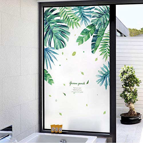 Plants Frosted Opaque Glass Window Film for Window Privacy Adhesive Glass Stickers Home Decor for Bedroom 45x60cm