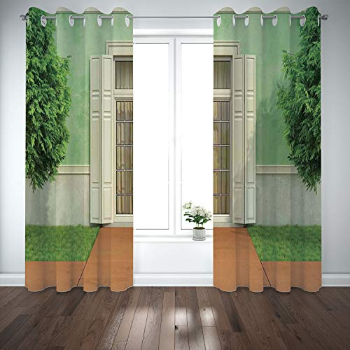 SCOCICI Grommet Satin Window Curtains Drapes [ Shutters Decor,Classical Decor Image Garden an Old House Closed Window Shutters Print,Green Cream] Living Room Bedroom Kitchen Cafe from SCOCICI