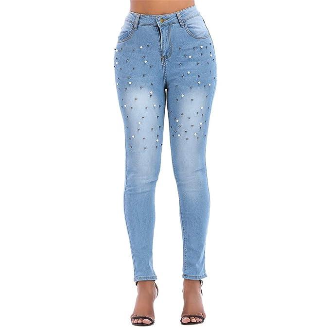 Pantalones Mujer Vaqueros Cintura Alta Tallas Grandes ...