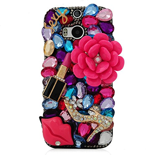 KAKA(TM HTC One M8 case,Bling Glitter Rhinestone Fashion Style with Big Red Flower Lipstick Red Lip Colorful Crystal