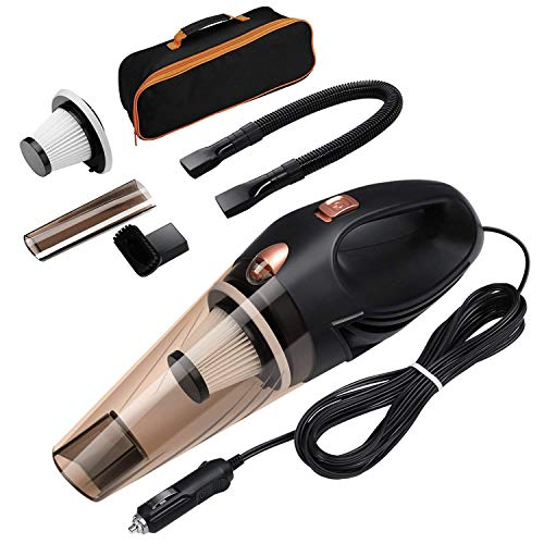 AMIR Car Vacuum Cleaner, 12V 106W Handheld Wet and Dry Car Hoover, Auto Vacuum Cleaner, 4 in 1 Portable with 16.4FT (5M) Power Cord, 2 HEPA Filters and Storage Pocket for Car -Black [Energy Class A+] by AMIR
