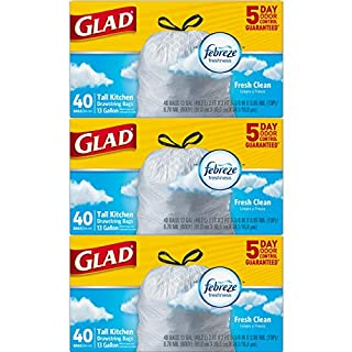 Glad OdorShield Tall Kitchen Drawstring Trash Bags - Febreze Lemon Scent - 13 Gallon - 40 Count - 2 Pack (Package May Vary)
