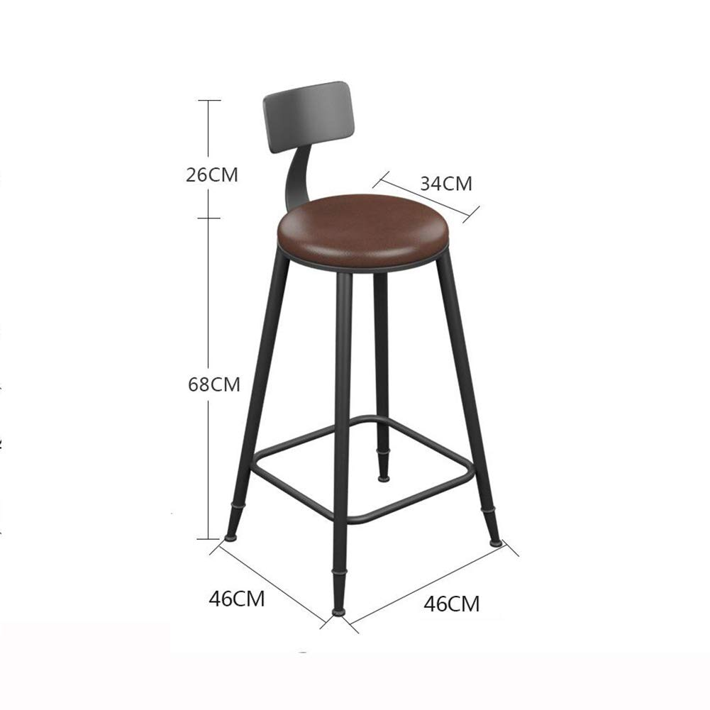 With cushion+backrest 68CM QIDI Bar Stool Counter Chairs Wood Bar Stool Footrest Metal Frame Nice Seat Cushion for Breakfast Kitchen Bar Cafe (color   with Cushion, Size   68CM)