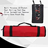 Tinksky 22-Pocket Reel Rolling Multi-Purpose Tool Bag Plier Screwdriver Spanner Carry Case Pouch Bag