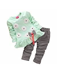 Orangeskycn Kids Girls Long Sleeve Flower Bow Shirt Plaid Pant Set Clothing