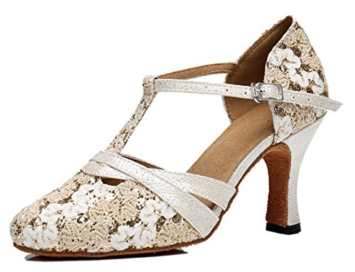 8cm Latin Women's Sequins Party Beige Heel Strap Toe Wedding Prom Synthetic Pumps Fashion Lace Dance Social T Joymod Shoes MGM Modern Chacha Closed 7wS8q1n5