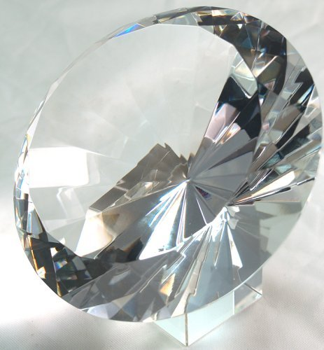 Round Faceted Crystal Paperweight - 120mm 5