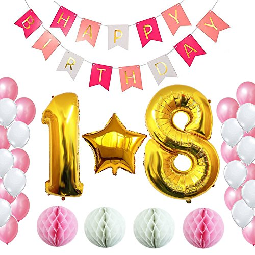 18th Birthday Decorations Party Supplies Happy Birthday Banner, Giant 32'' Number Foil Balloon, Gold Star Balloon, Honey Balls Pink and White, Free Inflator and Glue Dots (18) (Foil Balloon Time 18')