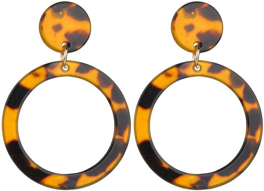 Erin Earring Pendientes De Leopardo De Moda Pendientes De Acetato Individual Edición Exagerada Pendientes Redondos Geométricos De Color Marrón