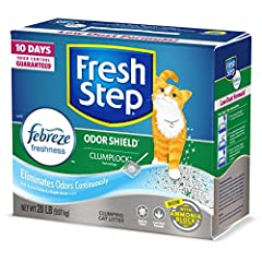 Fresh Step Odor Shield with Febreze Freshness Scented Clumping Cat Litter contains carbon to inhibit bacterial odor for up to 10 days and tight clumping clay for easy litter box maintenance. In this scented formula, a paw-activated fragrance ...