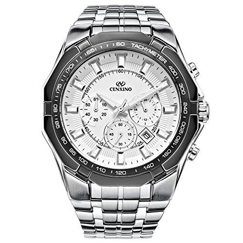 Analog Stainless Steel Bracelet (CENXINO Men's White Dial Multifunction Chronograph Watches With Date Analog and Stainless Steel Bracelet (White))