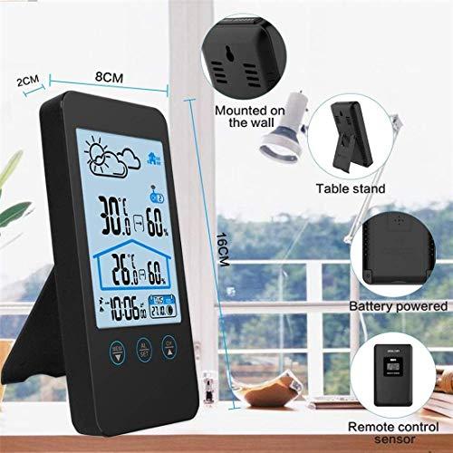 Estación meteorológica inalámbrica digital con sensor al aire libre con pronóstico meteorológico, reloj, alarma y luz nocturna, control de humedad, reloj de estación meteorológica, color negro