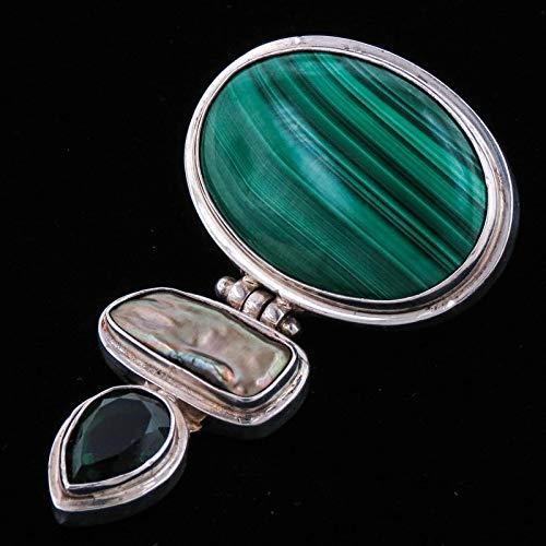 2 7/16'' Malachite Biwa Green Quartz 925 Sterling Silver Pendant YE-2097