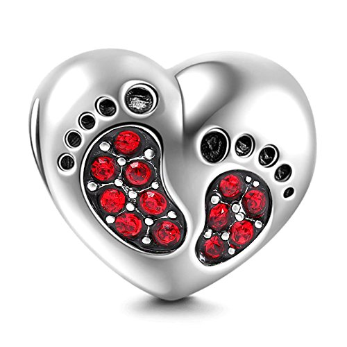 Red January Charm - Heart Love Baby Footprints Charms 925 Sterling Silver Jan-Dec Birthstone Crystal Charms Beads for Bracelets (Red January Stone)