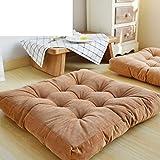 NVLKJHSFGIUJFKL Square Chair Cushion Plush Thicken,Oversized Corduroy Tatami living room carpets Cushion Floor Pad Pillow Balcony Yoga-E 55x55cm(22x22inch)
