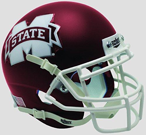 Schutt NCAA Mississippi State Bulldogs Mini Authentic XP Football Helmet, Satin Maroon Alt. 5