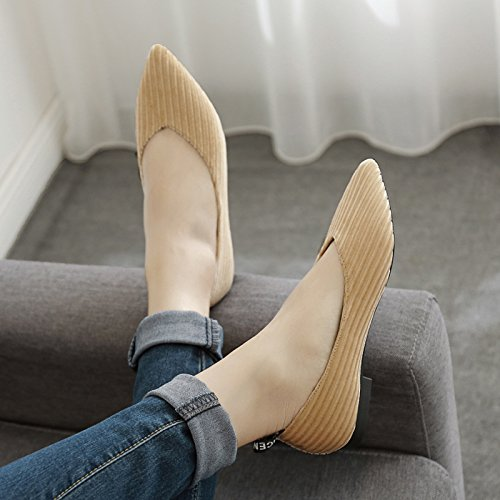Baja Zapatos de Mujer de Zapatos Zapatos Xue Plana Boca Puntiagudos Zapatos Planos de Qiqi Pana la con Zapatos de Tac Corte 5qqXn6azTw