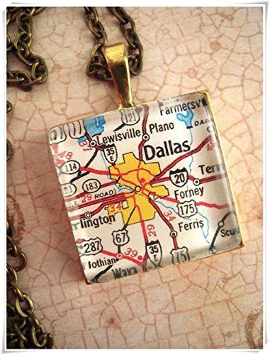 A little little love Custom Map Jewelry, Dallas Arlington Texas Map Pendant, Vintage Map Pendant Necklace,