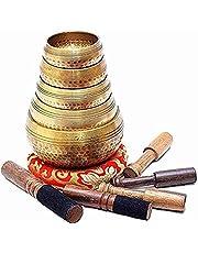 Beaten Tibetan Singing Bowl Set of 5 Hand Hammered - Buddhist Meditation Bowls From Nepal