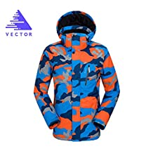 VECTOR Outdoor Sports TPU Waterproof Breathable Fabrics Men's Ski Clothing Windproof Climbing Snow Mountain Cotton Coat Jacket Ski Suit(Camouflage Red&Blue,S)